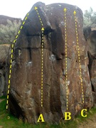 Rock Climbing Photo: Mono Boulder: A) The Mono Problem V3 B) Left Hand ...