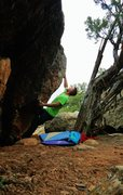 Rock Climbing Photo: Sticking the first move to the pinch on Spartahug.