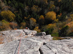 Rock Climbing Photo: Max Fisher coming up Harvest.