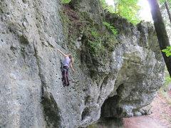 Rock Climbing Photo: Kate cruising the classic Trittbrettfahrer on the ...