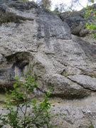 Rock Climbing Photo: Abseitfalle climbs into the black streak at the ce...