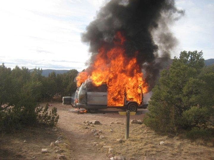 When I tell people my van caught fire, I don't think they can really imagine exactly what I mean. This photo helps.