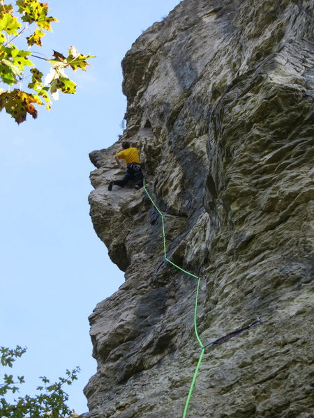 Rock Climbing Photo: The finish is steep, exposed and pumpy.