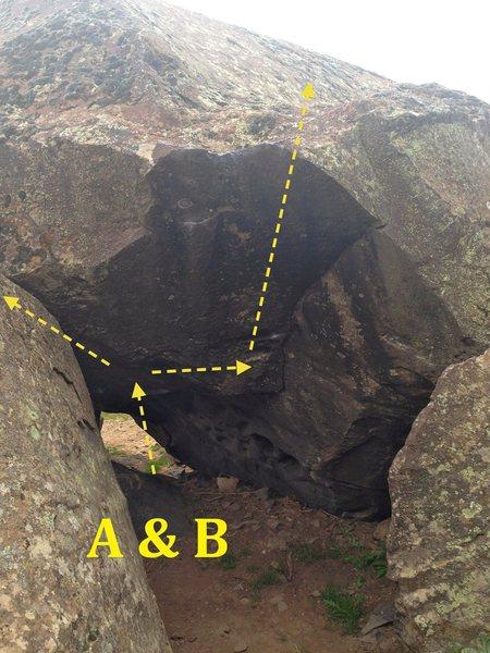 Greenroom Cave:<br> A) Greenroom Left V6<br> B) Greenroom V4