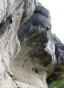 Rock Climbing Photo: Pumping up the challenging headwall.