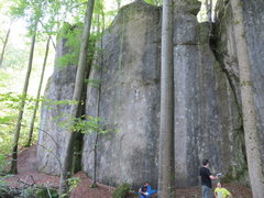 Rock Climbing Photo: The left side of Luisenwand, with the rope on Team...