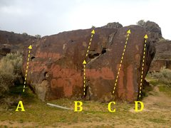 Rock Climbing Photo: Painted Boulder Left Side: A) Painted Arete VO B) ...