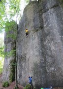 Rock Climbing Photo: Lining up for a precise stab at the end of the cru...