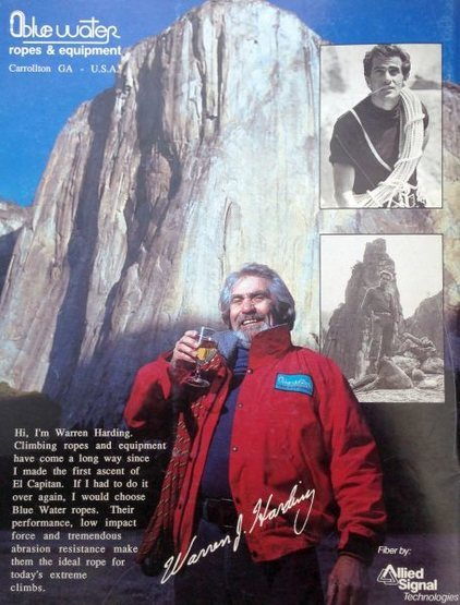 Bluewater ad (1988) featuring Warren Harding and El Cap