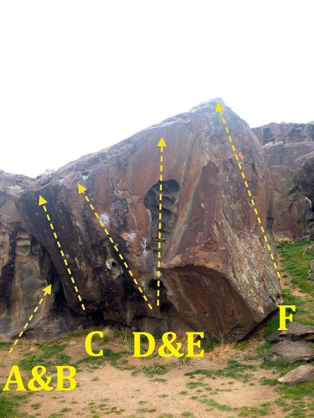 Stoner Boulder:<br> *A & B not shown.  In the Stoner Cave. <br> A) Strung Out V7 <br> B) Consolation Prize V4<br> C) Fudge V5<br> D) Holiday in Costco V7<br> E) Stoner Hueco Route V0<br> F) Easy Cleaver V0