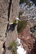 Rock Climbing Photo: The good edge after the runout above the 4th bolt ...