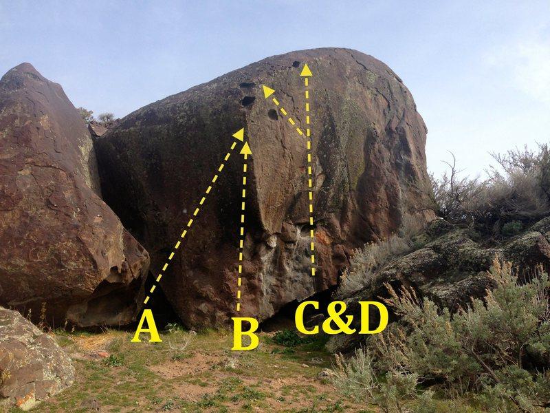 Rock Climbing Photo: Yaniro Boulder: A) Tedd's V6 B) Beau's Direct V7 C...