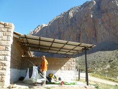 Rock Climbing Photo: Setting up base camp at Los Arenales.  The guards ...