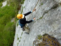 Rock Climbing Photo: Near the top of the first pitch of Póntelo.