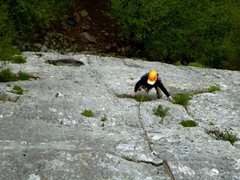 Rock Climbing Photo: Carol cruises up the first pitch of Los Elfos.