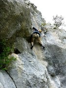 Rock Climbing Photo: Negotiating the awkward steep bit on the second pi...