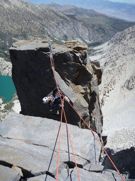 Tirolean traverse on Sun Ribbon Arête, Temple Crag