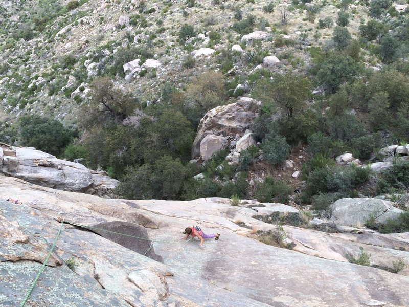 Rock Climbing Photo: Maddie crushing the slab on the second pitch!