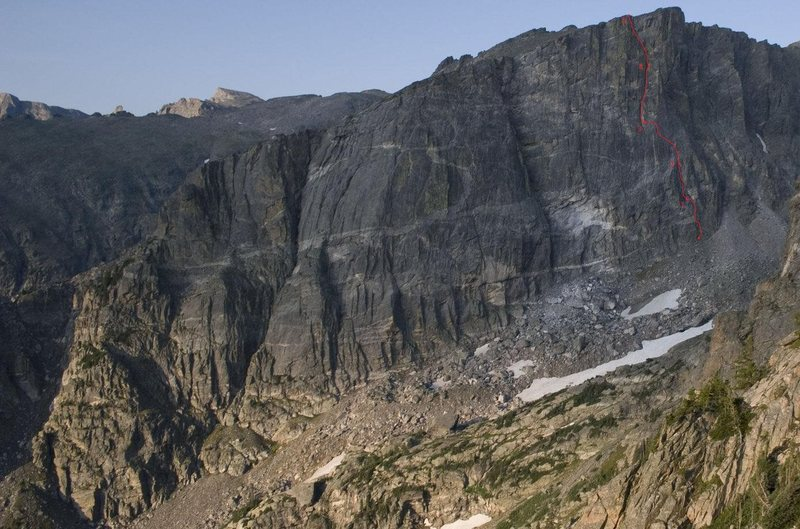 Amazing photo by Adam Paashaus, (obviously taken in the summer) with the winter route Analysis Paralysis drawn in red on the third buttress.