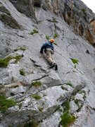 Rock Climbing Photo: Low down on the unknown route left of Placa Normal