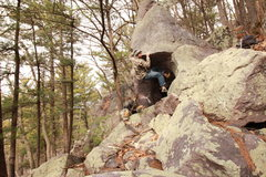 Rock Climbing Photo: The crux! A heel hook from here helped a great dea...