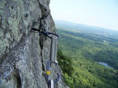 Rock Climbing Photo: A fun angle looking out at a cam on High Exposure'...
