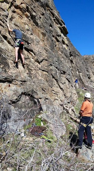 Rock Climbing Photo: Climbing parties enjoy the mild mid-March conditio...