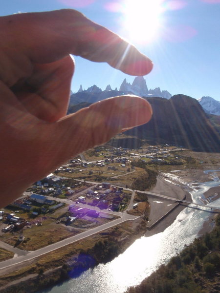 Crushing :)  across the river form El Chalten on some fun multi-pitch sport routes.