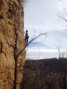 Rock Climbing Photo: Tyler finally past the difficulties. This photo ju...