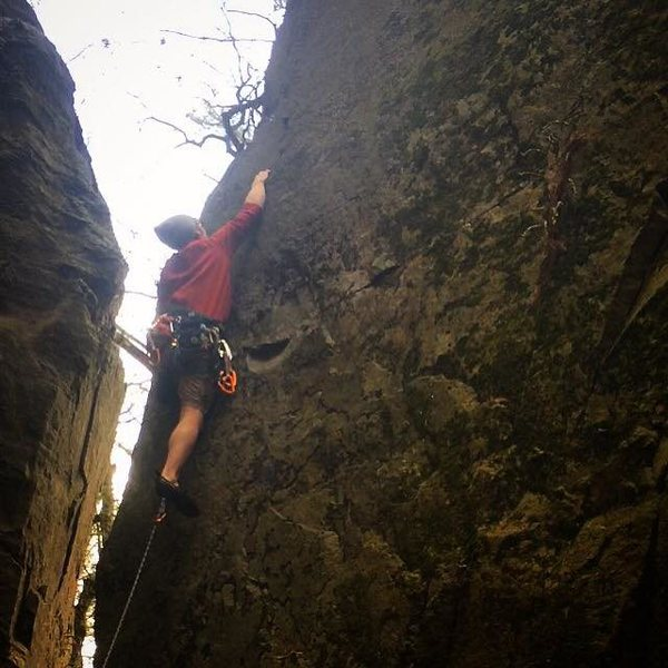 Rock Climbing Photo: Matt leading PWB Arete.