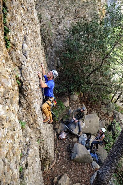 Andy climbs Ezra (5.9), at Wheeler Gorge.