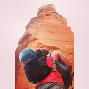 Rock Climbing Photo: Sizing things up. you can see p1 bolt ladder on th...