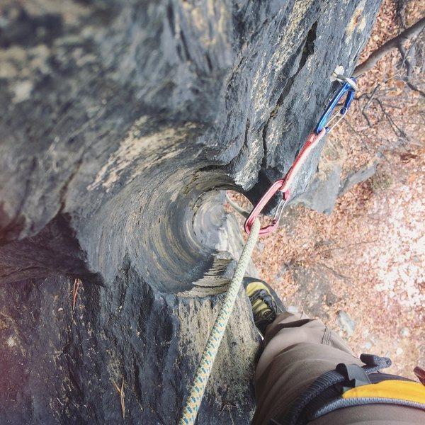 Rock Climbing Photo: Drill scar.