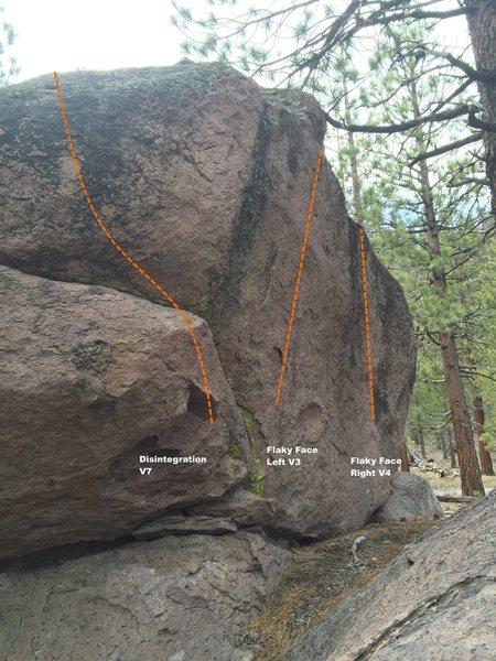 Disintegration Boulder East side Topo