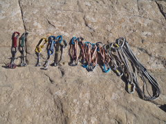 Rock Climbing Photo: The FA rack, heavy on the slings