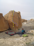 Rock Climbing Photo: Cow Pies Direct follows the yellow, Cow Pies Right...