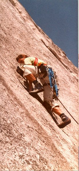 Peter Hayes leading the crux section at the bolt, when it was more like 5.7..d, circa 1981.