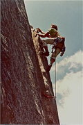 Rock Climbing Photo: Easy terrain near the belay. ca. 1981.