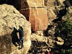 Rock Climbing Photo: Sean nearing the top.