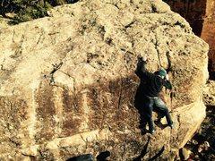 Rock Climbing Photo: Sean on the mono crimp.