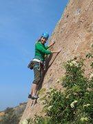 Rock Climbing Photo: Enjoying warm rock, lush green hills, and a bright...