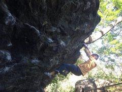 Shoemaker pulling hard at the 100 steps boulder
