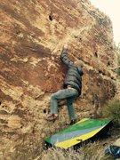 Rock Climbing Photo: Bag moving up the problem.