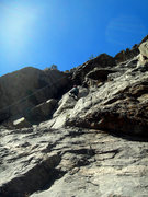 Rock Climbing Photo: Deb climbs the footsy (crux, IMHO) section of the ...
