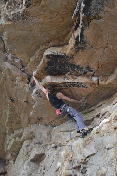 Rock Climbing Photo: Henry Robinson making the dyno move of Ethnic Clea...