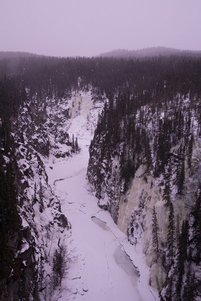 The Kuskulana River ice climbs from the bridge at mile marker 16 on the McCarthy road.