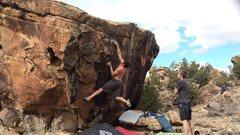 Rock Climbing Photo: Beans sticking the crux move.