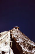 Rock Climbing Photo: Peter leading the highly featured second pitch of ...
