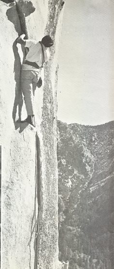 Tobin Sorenson having completed all the difficulties on Insomnia, 1973. I like the huge cord on that hex in the tight hand section.