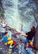 Rock Climbing Photo: John Long and Mike Guardino at the base of The Pir...